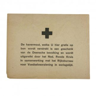 Original WWII Dutch Red Cross document oat meal from Denmark