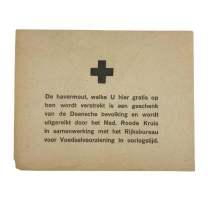 Original WWII Dutch Red Cross document oat meal from Denmark