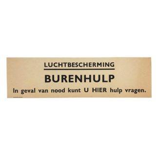 Original WWII Dutch 'Luchtbescherming' paper sign neighbor help