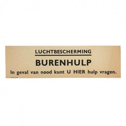 Original WWII Dutch 'Luchtbescherming' paper sign neighbor help