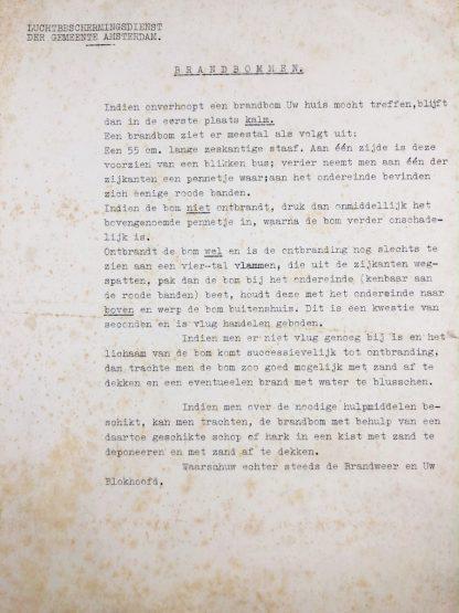 Original WWII Dutch 'Luchtbeschermingsdienst' document incendiary bombs Amsterdam