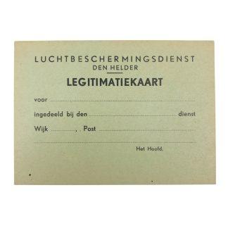 Original WWII Dutch 'Luchtbeschermingsdienst' unissued ID card Den Helder