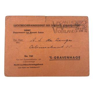 Original WWII Dutch Luchtbeschermingsdienst member card 'S-Gravenhage