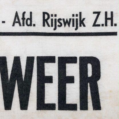 Original WWII Dutch 'Luchtbescherming' Blokbrandweer armband Rijswijk