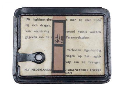 Original WWII Dutch Fokker aircraft ID card with documents Amsterdam