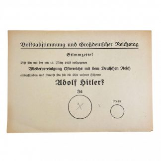 Original WWII German Adolf Hitler ballot paper 1938