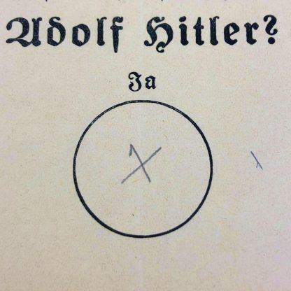 Original WWII German Adolf Hitler ballot paper 1938
