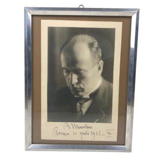 Original WWII Italian Benito Mussolini autograph