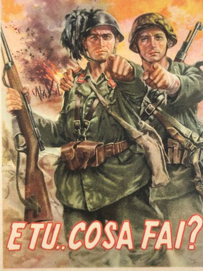Original WWII Italian R.S.I. recruitment post card