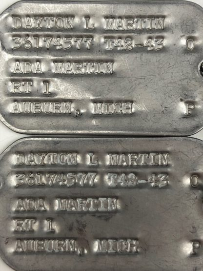 Original WWII US dog tags