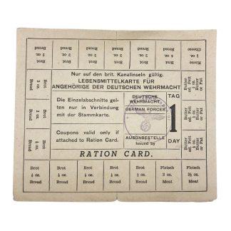 Original WWII German Wehrmacht British Channel Islands ration card
