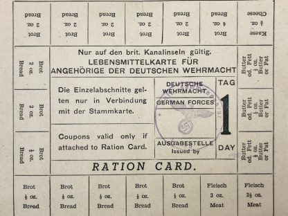 Original WWII German Wehrmacht British Channel Islands ration card
