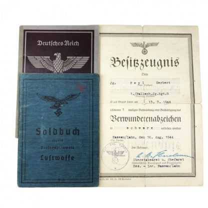 Original WWII German Fallschirmjäger Soldbuch set – WIA in Normandy 1944