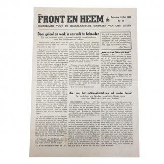 Original WWII Dutch Waffen-SS volunteer newspaper Front en Heem 5 May 1945