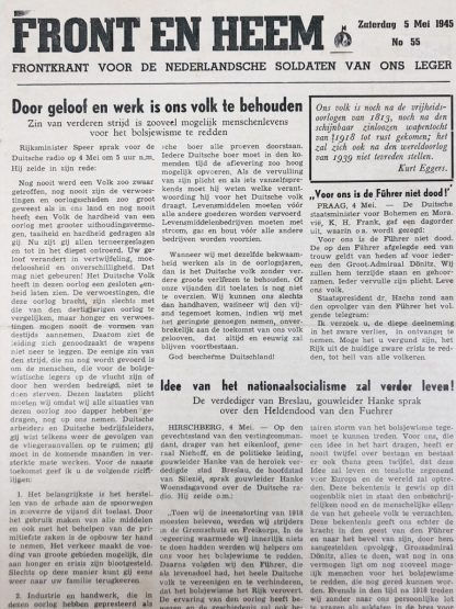 Original WWII Dutch Waffen-SS volunteer newspaper Front en Heem 5 May 1945