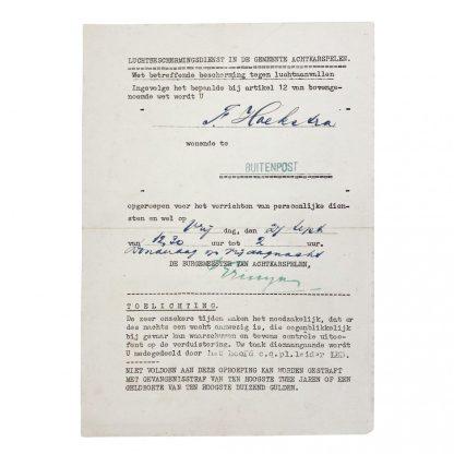Original WWII Dutch 'Luchtbeschermingsdienst' document Achtkarspelen – Buitenpost