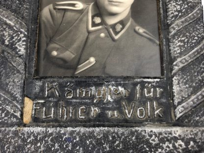 Original WWII German SS-Totenkopf portrait photo in carton frame