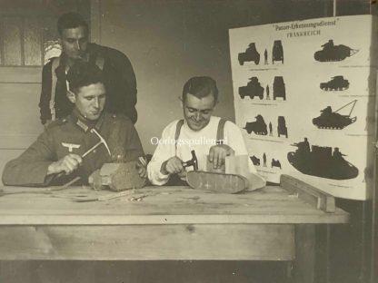 Original WWII German photo 'Panzer-Erkennungsdienst Frankreich' wooden tank models