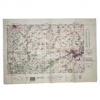 Original WWII British military map 'Normandy – Caen' 1943