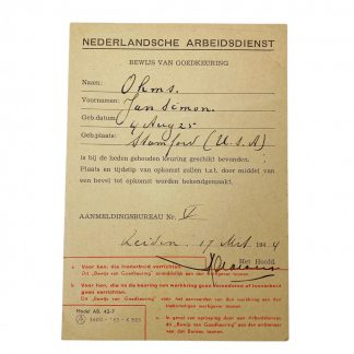 Original WWII Nederlandsche Arbeidsdienst Proof of approval card for American!