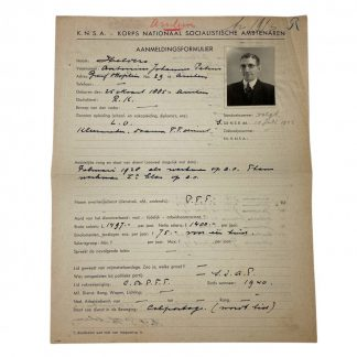 Original WWII Dutch K.N.S.A. registration form Arnhem
