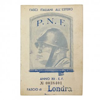 Original WWII Italian P.N.F. ID card member in London