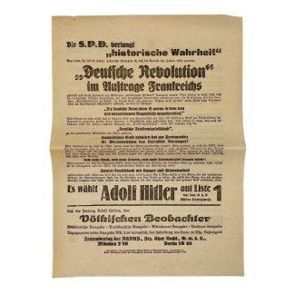 Original 1920s Adolf Hitler elections leaflet