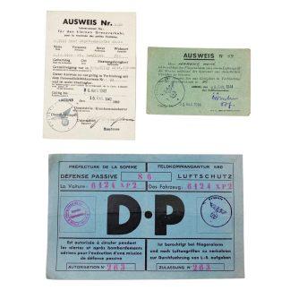 Original WWII German Luftschutz Ausweis grouping Amiens (France)