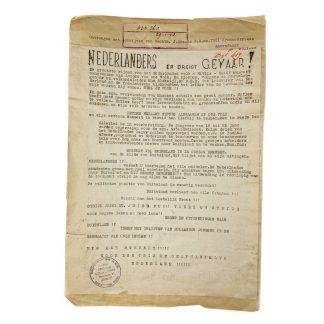 Original WWII Dutch NSB archive evidence 'Dutch resistance leaflet'