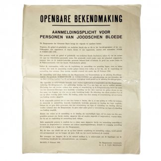 Original WWII Dutch poster 'Registration obligation for Jewish persons' Baarn 1941