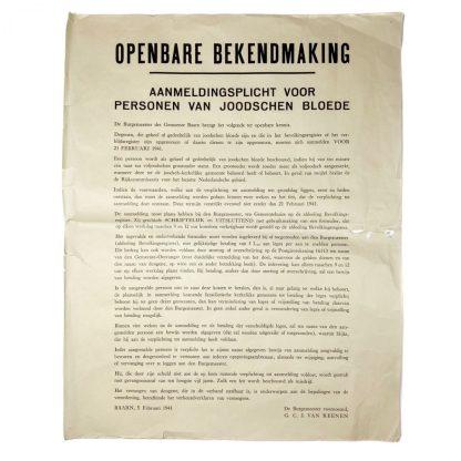 Original WWII Dutch poster 'Registration obligation for Jewish persons' Baarn 1941