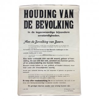 Original WWII Dutch 'Attitude of the population' poster Baarn 1940