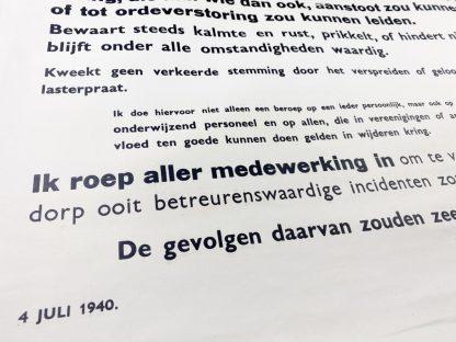Original WWII Dutch 'Attitude of the population' poster Baarn 1940