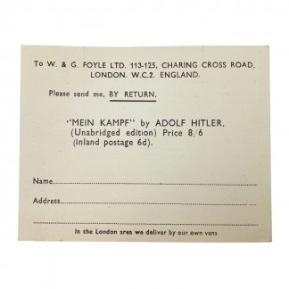 Original 1930s British 'Mein Kampf' request card