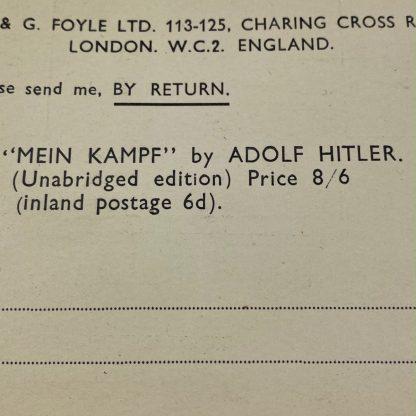 Original 1930s British 'Mein Kampf' request card