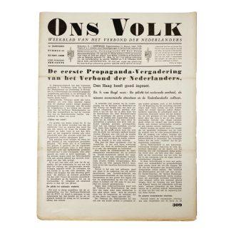 Original WWII Dutch collaboration newspaper – Ons Volk 'Verdinaso Nederland'