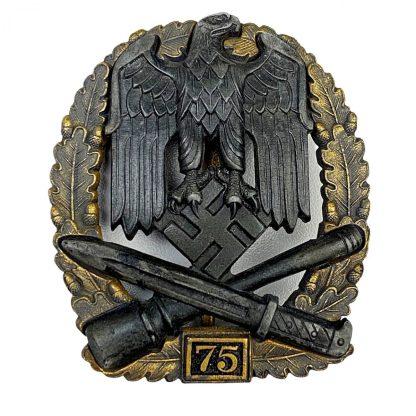 Original WWII German Allgemeines Sturmabzeichen mit Einsatzzahl '75'
