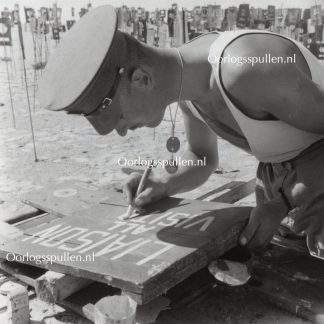 Original WWII British photo 'Painting the road signs'