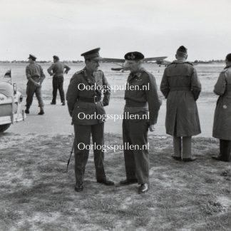 Original WWII British photo 'Montgomery & General B Paget talking on a visit to RAF Castel Benito airfield'