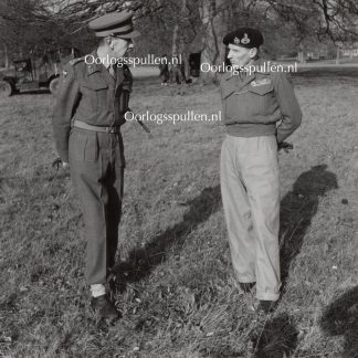 Original WWII British photo 'Montgomery in conversation with Brigadier C.H. Norton at Chippenham Hall' 1944