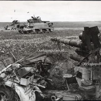 Original WWII British photo 'Knocked out FLAK 88 & Sherman Tanks' Tunis