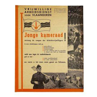 Original WWII Flemish Vrijwillige Arbeidsdienst voor Vlaanderen flyer