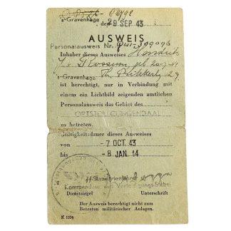 Original WWII German Ausweis Clingendaal (Bunker Seyss-Inquart area)