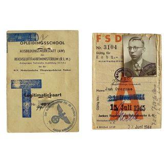 Original WWII German ID card's of a Dutch airplane builder 'Fokker & Junkers'