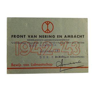 Original WWII Dutch Front van Nering en Ambacht membership card