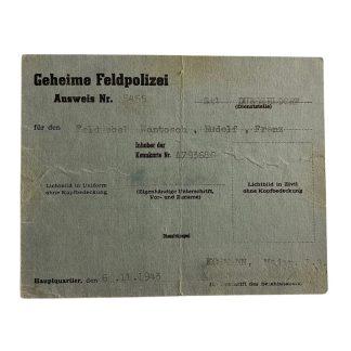 Original WWII German Geheime Feldpolizei ausweis