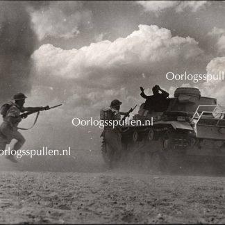 Original WWII British photo 'German tank crew surrenders'