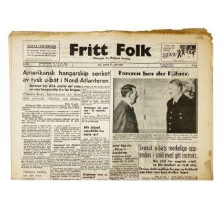 Original WWII Norwegian collaboration Nasjonal Samling newspaper – Fritt Folk