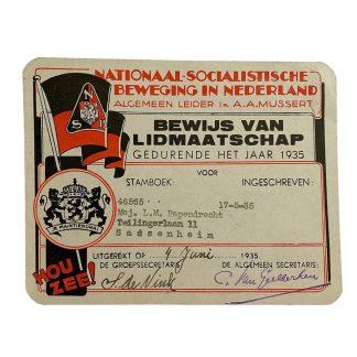 Original WWII Dutch NSB membership card 'Sassenheim'
