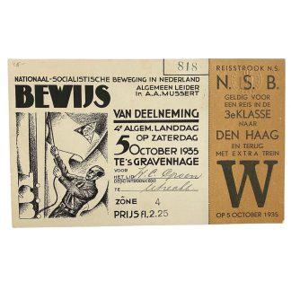 Original WWII Dutch NSB participation card '4e Landdag 1935'